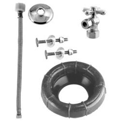 Westbrass D1612TBX26 Cross Handle Ball Valve Toilet Kit & Wax Ring - Copper