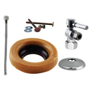 Westbrass D1613TBL26 Handle Ball Valve Kit Wax Ring Toilet Lever - Chrome