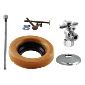 Westbrass D1613TBX26 Cross Handle Ball Valve Kit Wax Ring Toilet Lever - Chrome