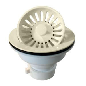 Westbrass D2143P-65 Plastic Push/Pull Kitchen Sink Strainer - Biscuit