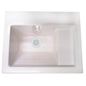 Westbrass DEL2126AT0 Delicate Touch 26™ x 22™ Acrylic Self-Rimming or Undermount Laundry Sink - White