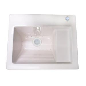 Westbrass DEL2126ATA Delicate Touch 26� x 22� Acrylic Self-Rimming or Undermount Laundry Sink with Water Aeration Switch - White