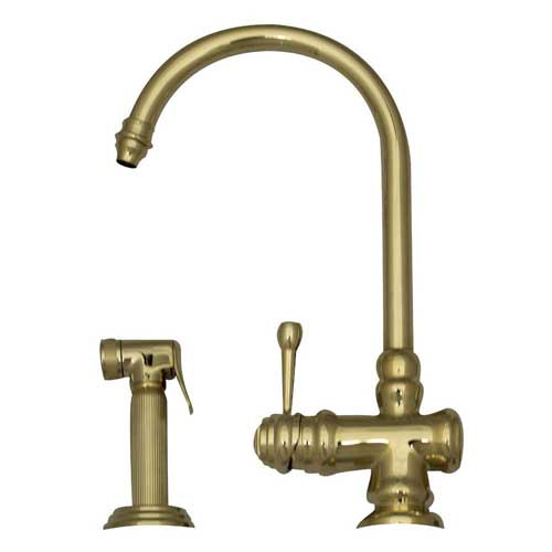 Whitehaus Wh17666 Pbras Evolution Single Handle Kitchen Faucet With Side Spray Polished Brass