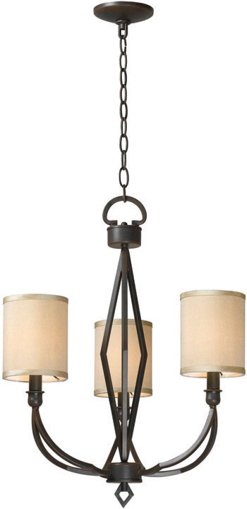 World Imports WI-3503-42 Decatur 3 Light Iron Chandelier with Shades - Rust