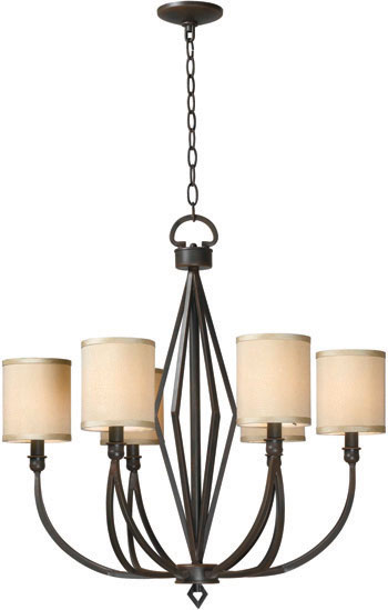 World Imports WI-3506-42 Decatur 6 Light Iron Chandelier with Shades - Rust