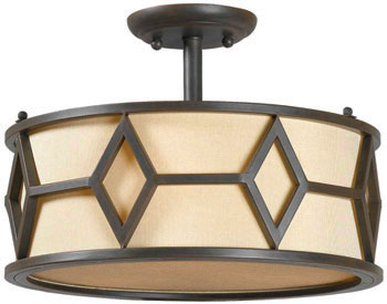 World Imports WI-3513-42 Decatur 3 Light Ceiling Mounted Light with Shade - Rust