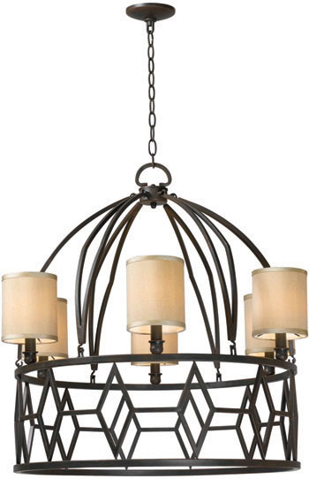 World Imports WI-3516-42 Decatur 6 Light Iron Chandelier with Shades - Rust