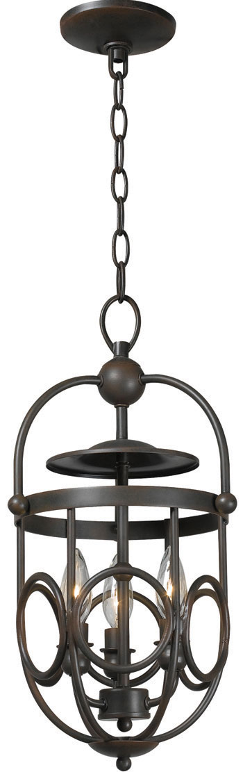 World Imports WI-3523-42 Belle Chasse 3 Light Iron Pendant - Rust