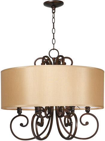 World Imports WI-3526-29 Rue Maison 6 Light Iron Chandelier with Shades - Euro Bronze