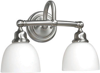 World Imports WI-3532-02 Amelia 2 Light Bath Sconce with Glass - Satin Nickel