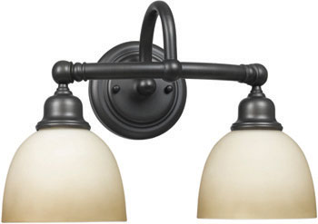 World Imports WI-3532-88 Amelia 2 Light Bath Sconce with Glass - Oil Rubbed Bronze