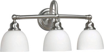 World Imports WI-3533-02 Amelia 3 Light Bath Sconce with Glass - Satin Nickel