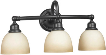 World Imports WI-3533-88 Amelia 3 Light Bath Sconce with Glass - Oil Rubbed Bronze