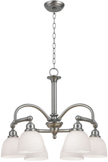 World Imports WI-3536-02 Amelia 6 Light Chandelier with Glass - Satin Nickel