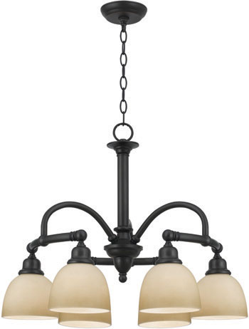 World Imports WI-3536-88 Amelia 6 Light Chandelier with Glass - Oil Rubbed Bronze