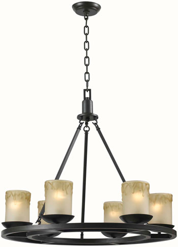 World Imports WI-6136-88 Colchester 6 Light Iron Chandelier - Oil Rubbed Bronze