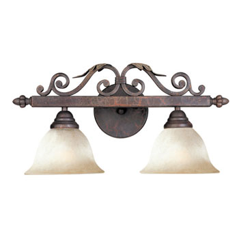 World Imports 2630-24 Olympus Tradition 2-Light Bath Light - Crackled Bronze With Silver