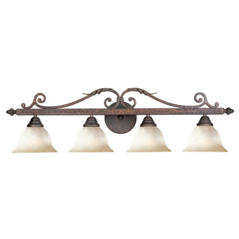 World Imports 2632-24 Olympus Tradition 4-Light Bath Light - Crackled Bronze With Silver