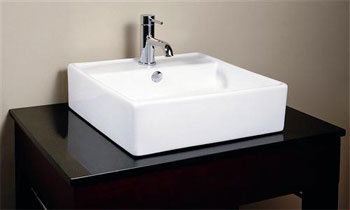 RyvyR CVE189SQ Ceramic Square Vessel - White