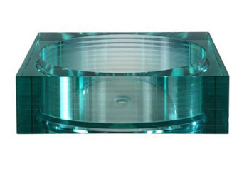 Xylem GV105RSQ Segment Square Glass Vessel - Green Tinted