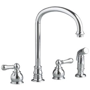 American Standard 4751.732.002 Two Handle Bottom Mount Kitchen Faucet with Sidespray - Polished Chrome