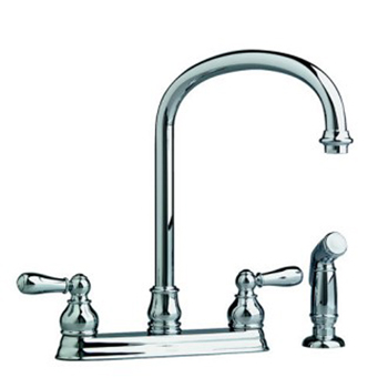 American Standard 4771.732.295 Hampton Two Handle Centerset Kitchen Faucet with Side Spray and Metal Handles - Satin Nickel (Pictured in Polished Chrome)