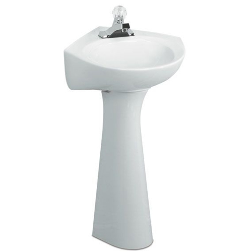 American Standard 0611.001.020 Cornice Pedestal Basin with Center Hole - White