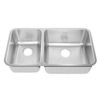 American Standard 14CL.331900.073 Prevoir Undermount 32-7/8 x 18-3/4 Double Bowl Kitchen Sink with Small Bowl on Left - Stainless Steel