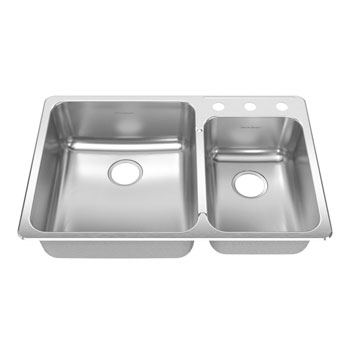 American Standard 19CR.332283.073 Prevoir Drop In 33-3/8 x 22 Double Bowl Kitchen Sink with 3 Hole Drilling - Stainless Steel