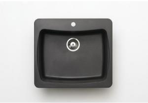Pegasus AL10MB 25 In. x 22 In. Granite Single Bowl Kitchen Sink in Black