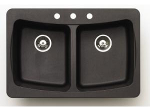 Pegasus AL20MB Granite Double Bowl Kitchen Sink in Black