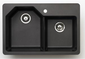 Pegasus AR20MB Granite Offset Double Bowl Kitchen Sink in Black