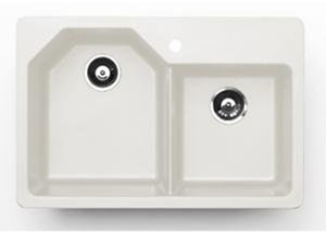 Pegasus AR20WH Granite Offset Double Bowl Kitchen Sink in White