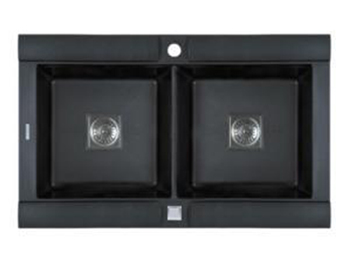 Astracast GE20RZUSSK Geo Double Bowl Kitchen Sink - Black