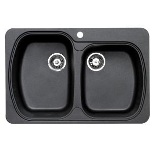Astracast ATUS2DRZUSSK USA 'D' Double Bowl Kitchen Sink - Black