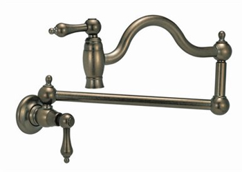 Belle Foret BFN180-01CP Wall-Mounted Pot Filler - Chrome (Pictured in Tumbled Bronze)