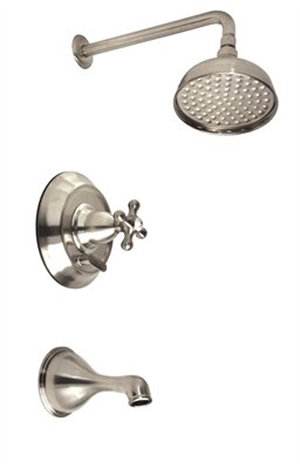 Belle Foret N500-02CP Single Handle Pressure Balance Tub/Shower Faucet Chrome (Pictured in Satin Nickel)