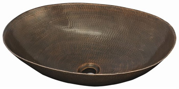 Belle Foret BFC30-WC Oval Lavatory Vessel Sink Weathered Copper (Pictured in Oil Rubbed Bronze)