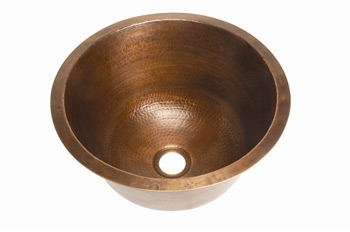 Belle Foret BFC3BAR-WC Round Copper Undermount Bar Sink with Flat Bottom Weathered Copper