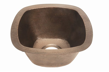 Belle Foret BFC5KIT-WC Square Copper Kitchen Sink Undermount Weathered Copper (Pictured in Oil Rubbed Bronze)