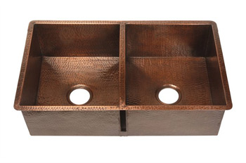 Belle Foret BFK2KIT-ORB Double Bowl Kitchen Undermount Sink Oil Rubbed Bronze (Pictured in Weathered Copper)