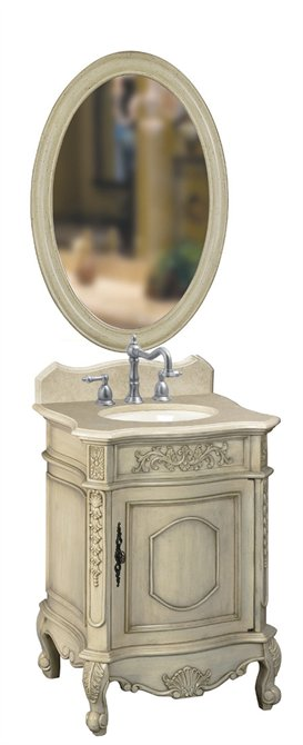 Belle Foret BF80030R Petite Single Basin Vanity Antique Parchment with Cream Marble Top and Backsplash