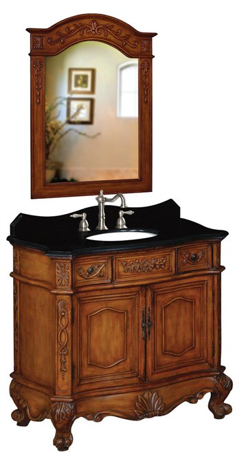 Belle Foret BF80031R Basin Vanity Oak with Black Granite Top and Backsplash