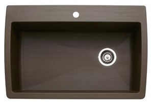 Blanco 440192 Diamond Super Single Bowl Drop-In Silgranit II Kitchen Sink - Cafe Brown