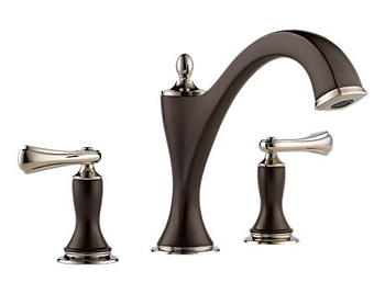 Brizo T67385-PNCOLHP Charlotte Two Handle Roman Tub Faucet Trim - Cocoa Bronze and Polished Nickel (Less Handles)
