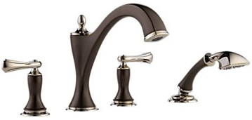 Brizo T67485-PNCOLHP Charlotte Two Handle Roman Tub Faucet Trim with Handshower - Cocoa Bronze and Polished Nickel (Less Handles)