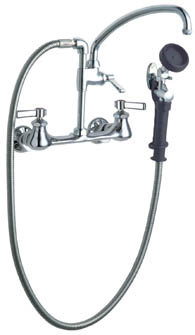Chicago Faucets 509-GCLCP Wall Mounted Pot Filler With Pre-Rinse Spray Valve - Chrome