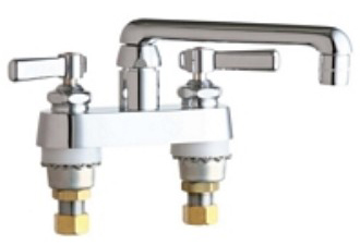 Chicago Faucets 891-ABCP Deck Mounted Centerset With Lever Handle Faucet - Chrome