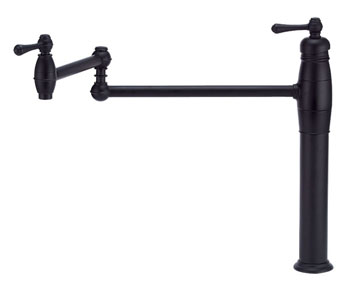 Danze D206557BS Opulence Double Handle Deck Mount Pot Filler - Satin Black