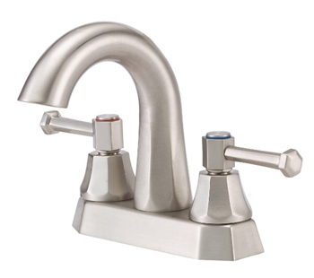 Danze D301268BN Brandywood Two Lever Handle Centerset Lavatory Faucet with High-Rise Spout Brushed Nickel